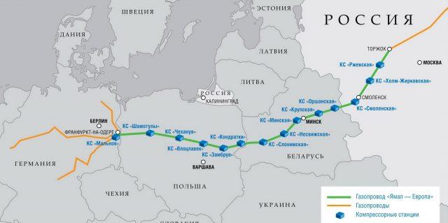 Польша приостановила прием российского газа из газопровода «Ямал-Европа»